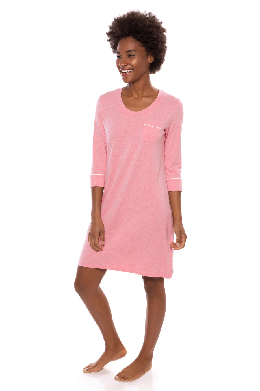 Zizz - Women's Bamboo Viscose 3/4 Sleeve Nightgown - TexereSilk
