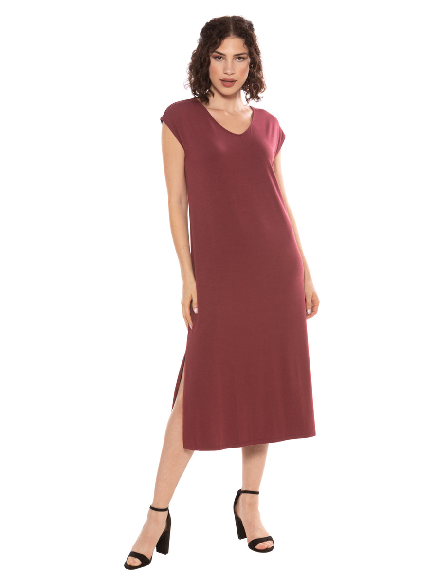 Caila - Womens Bamboo Viscose Midi Lounge Dress - TexereSilk