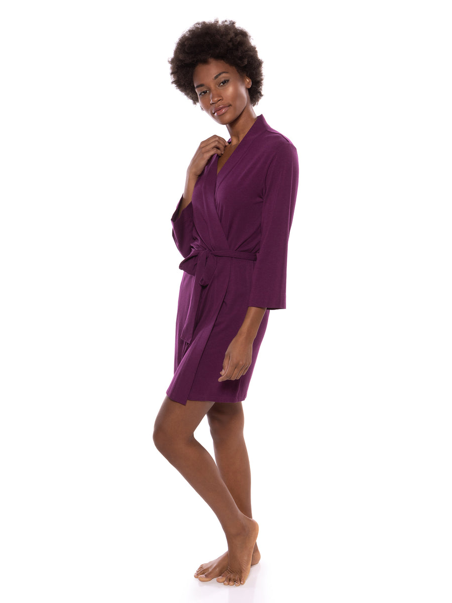 Oarla - Women's Bamboo Viscose Short Belted Robe - testing23451234 - Robes