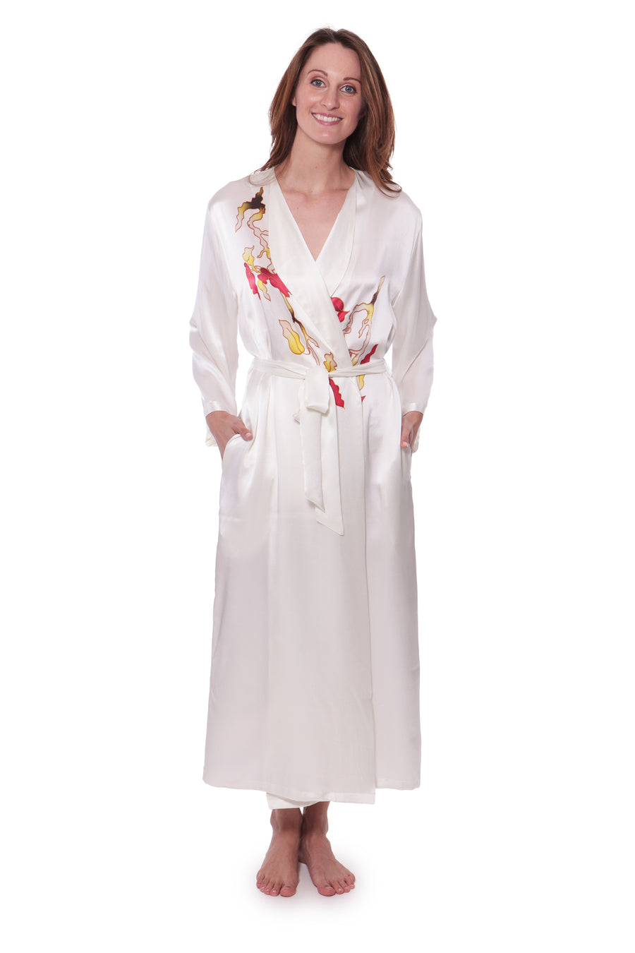 Chrysanthemum - Hand Painted Silk Robe - TexereSilk