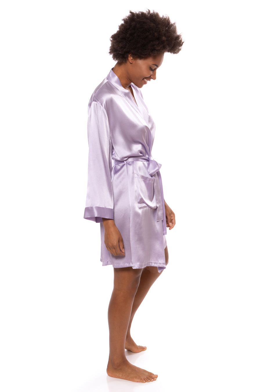 Midnight Jewel - Women's Silk Short Robe - TexereSilk