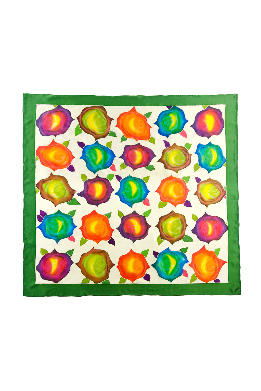 Abstract Flowers - Silk Square Hand Painted Scarf - testing23451234 - Scarves