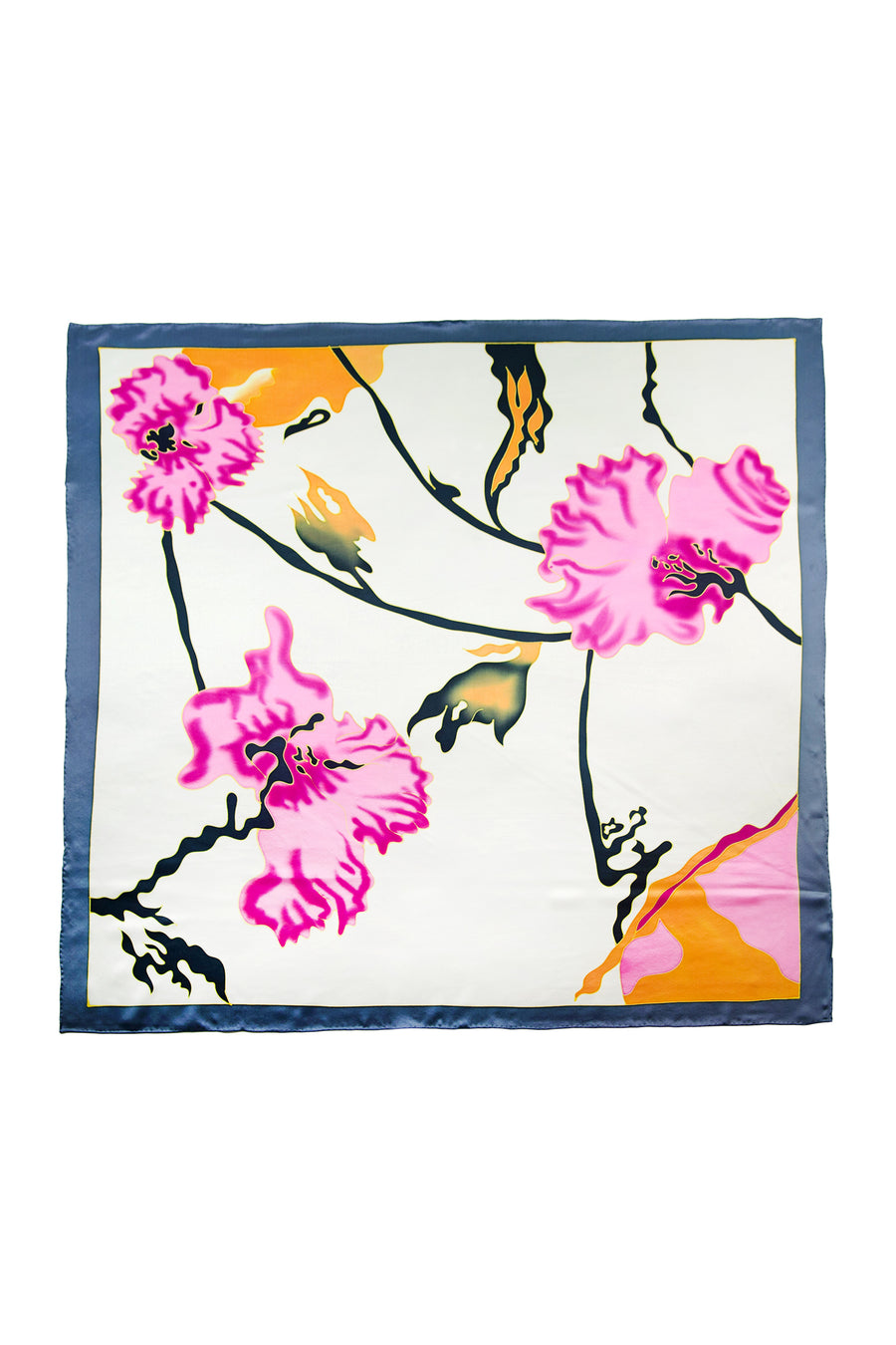 Summer Blossoms - Women's Silk Hand Painted Square Scarf - TexereSilk