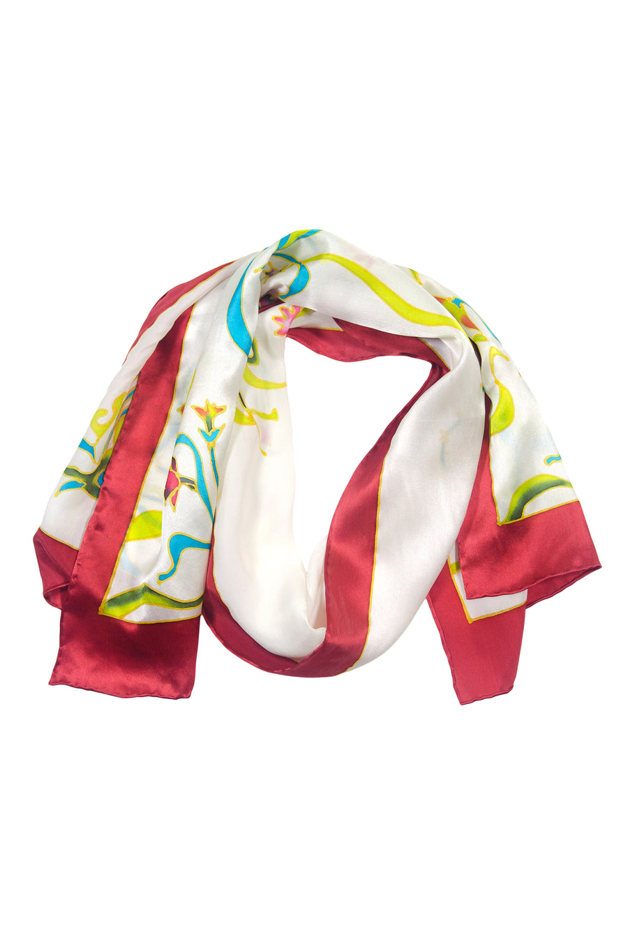 Colorful Vine - Women's Silk Hand Painted Rectangular Scarf - TexereSilk