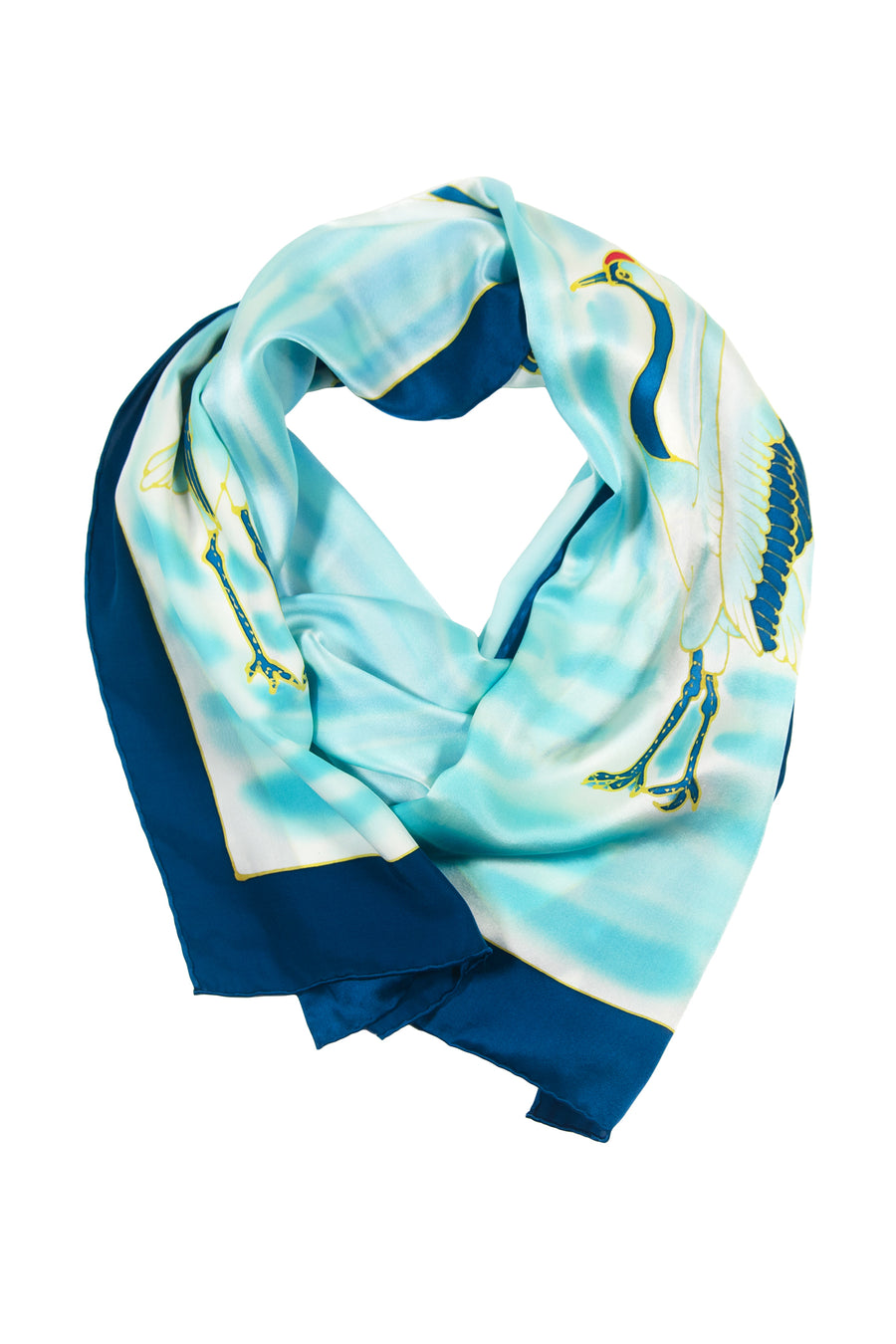 The Cranes - Hand Painted Oblong Scarf - TexereSilk