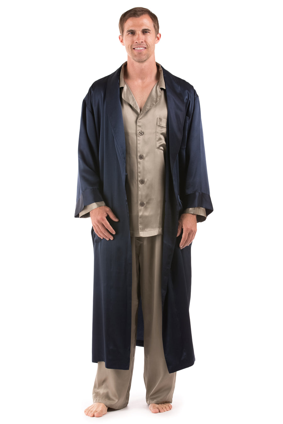 Blissful Buddha - Men's Silk Hand Painted Robe - TexereSilk
