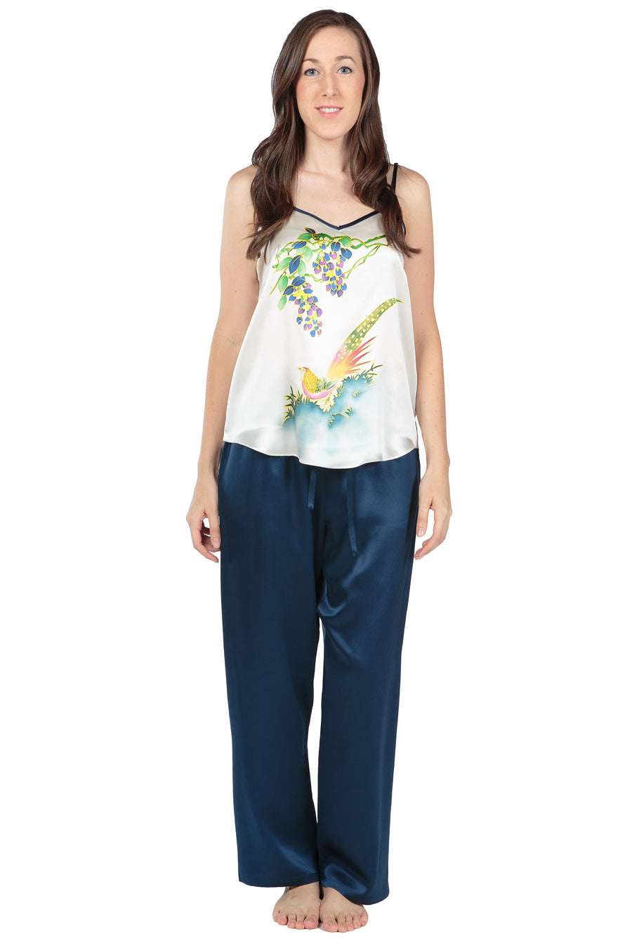 Phoenix in Paradise - Women's Hand Painted Silk PJ Set - TexereSilk