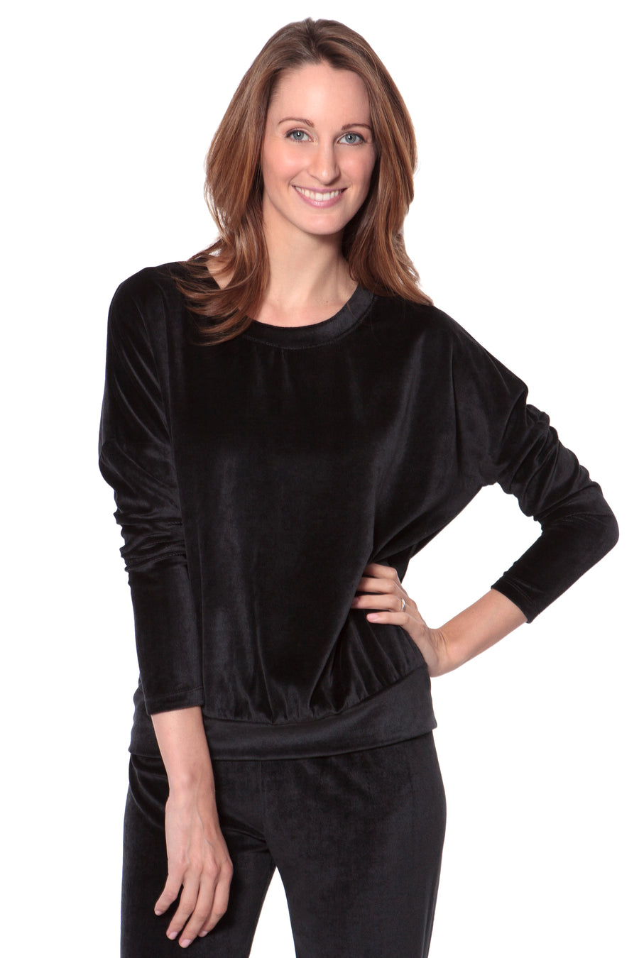 Zahra - Women's Velour Sleepwear Top - TexereSilk
