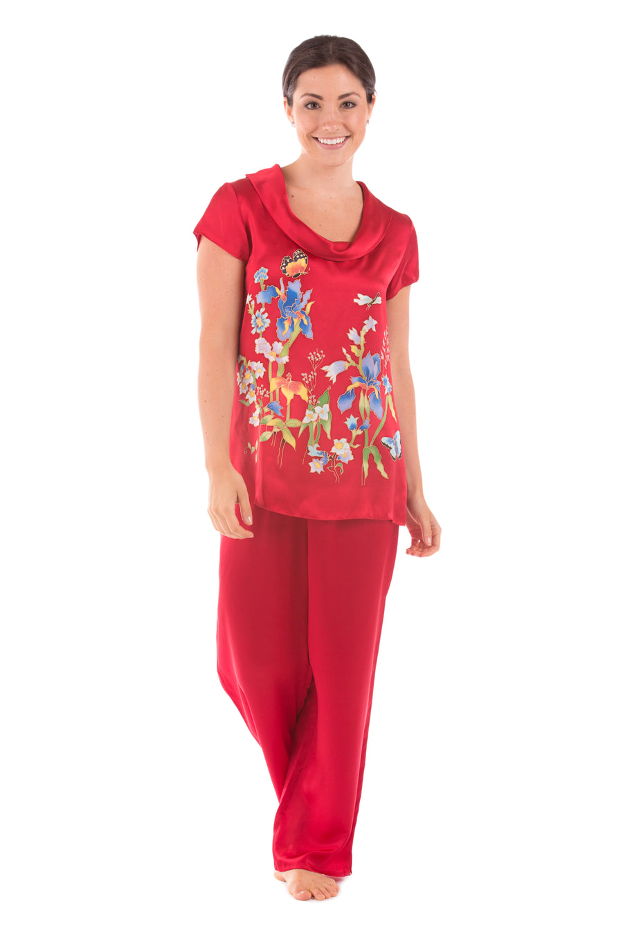 Butterfly Garden - Hand Painted Silk PJ Set - TexereSilk