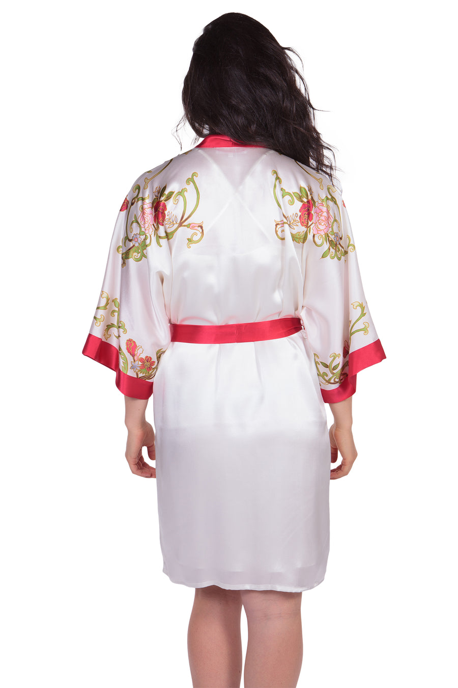 Rose Bouquet - Women's Hand Painted Robe - TexereSilk