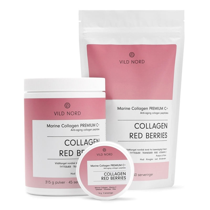Vild Nord Marine Collagen Premium C+ Red Berries (210 g) - Kollagenpulver