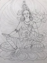 Load image into Gallery viewer, Green Tara Original Drawing