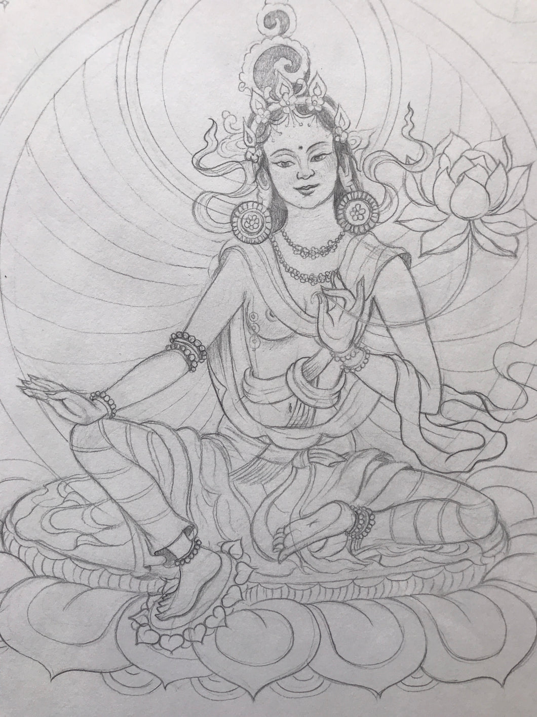 Green Tara Original Drawing