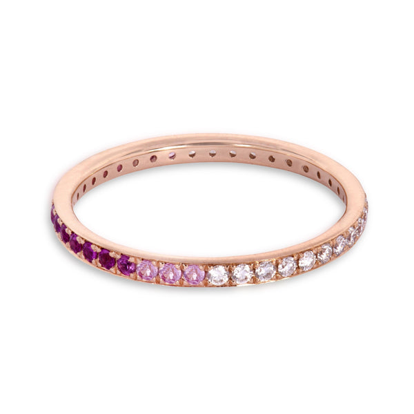The Journey Diamond and Pink Sapphire Ring in Rose Gold