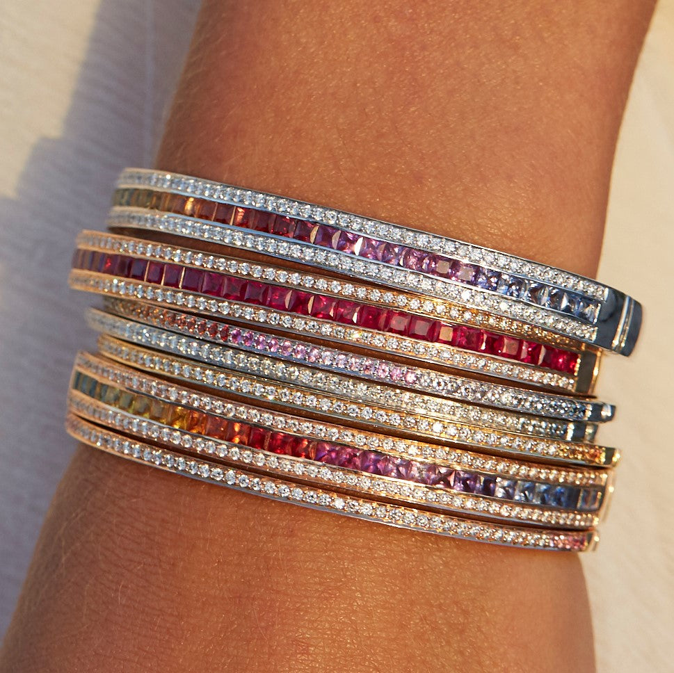 The Rainbow Union Bracelet in White Gold