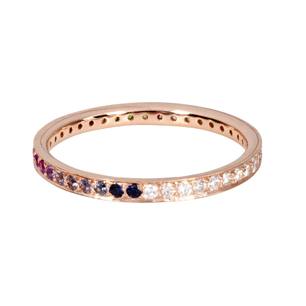 The Journey Diamond and Rainbow Ring in Rose Gold