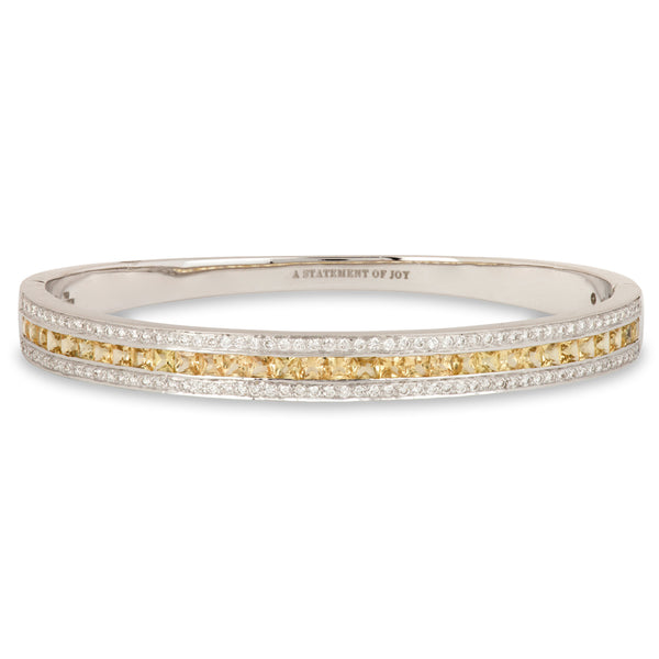The Yellow Sapphire Union Bracelet in White Gold
