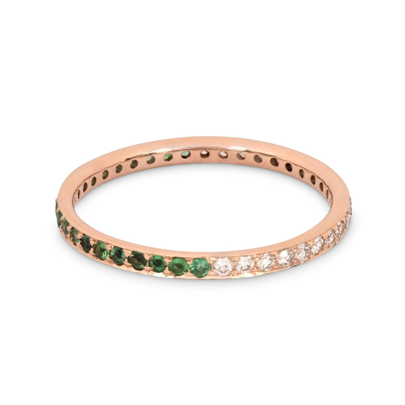 The Journey Diamond and Emerald Ring in Rose Gold