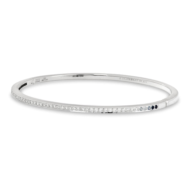 The Diamonds and Blue Sapphire Journey Bracelet in White Gold