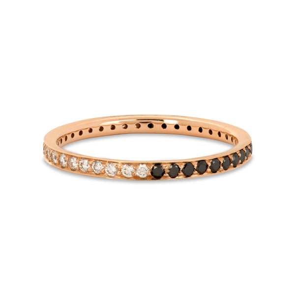 The Journey White Diamond and Black Diamond Ring in Rose Gold