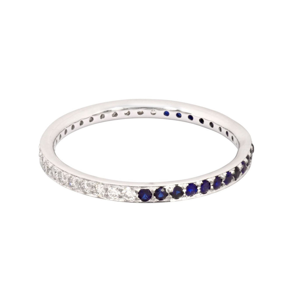 The Journey Diamond and Blue Sapphire Ring in White Gold