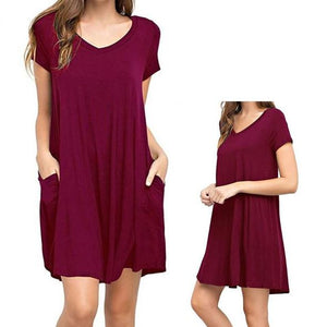 667cddfd7e87d Women's Casual Pocket T-Shirt Loose Dress(buy 2 get free shipping ...