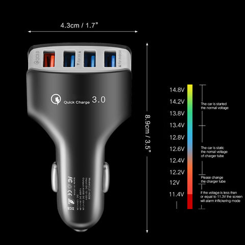 Fast Quick Phone Charger 4 Port USB Car Charger