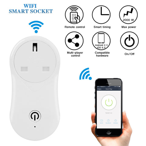 UK Plug Wireless WiFi Smart Socket Intelligent Outlet