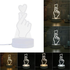 Creative Finger Heart 3D LED Night Light Lamp Table Bedroom Lamp