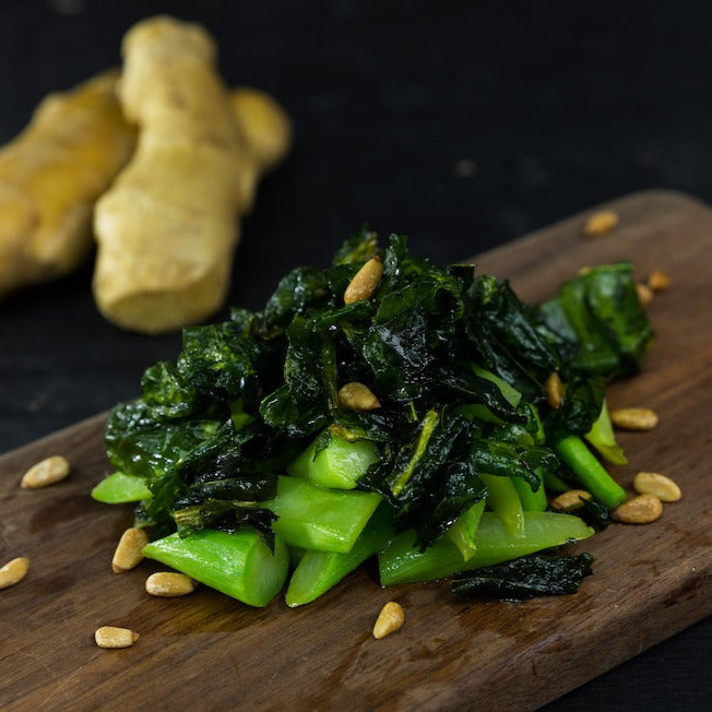 Sauteed Crispy Chinese Kale with Ginger
