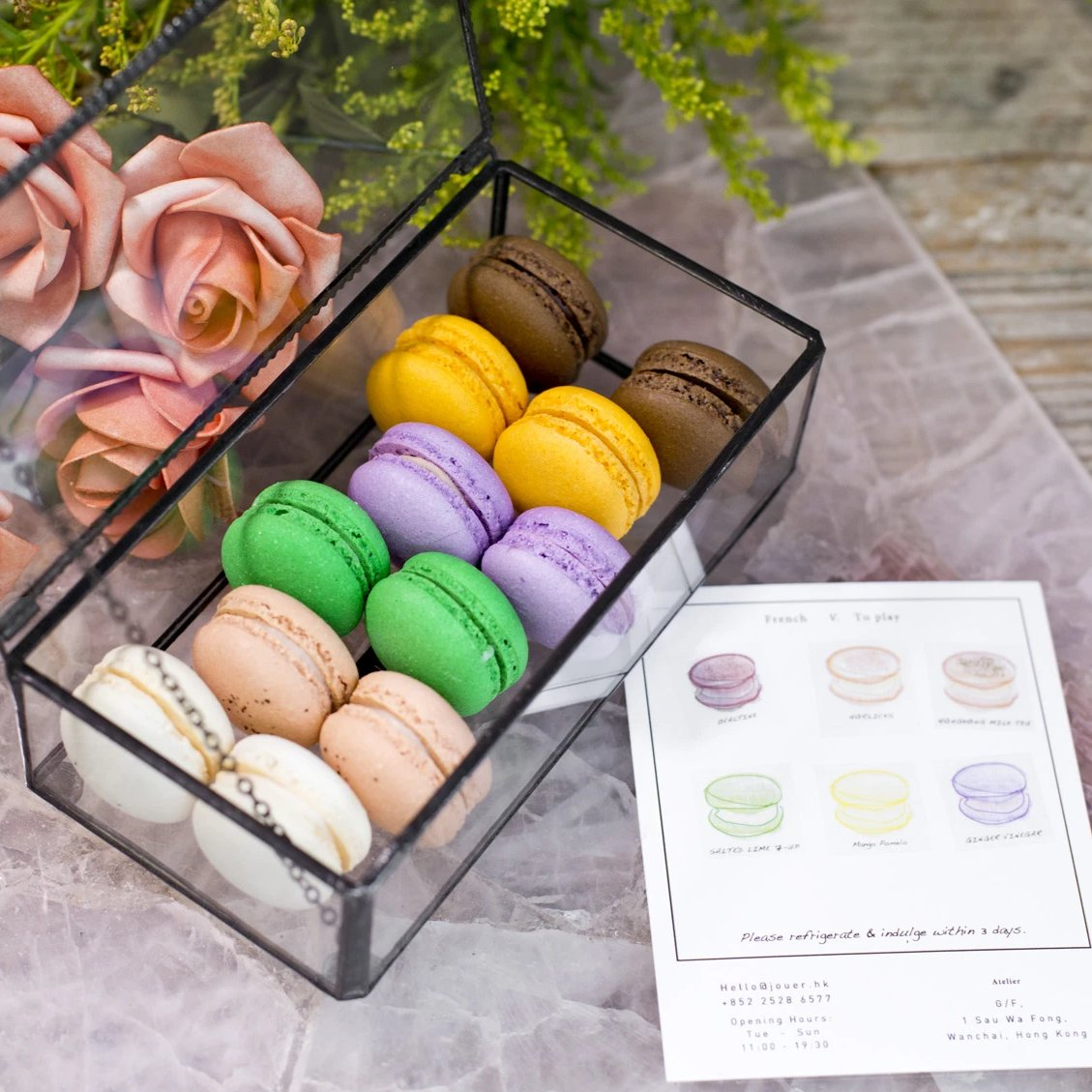 HK Retro Flavours Macaron Set in Glass Box (12pc)