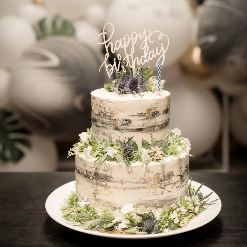 Marble Frosted Wedding Cake