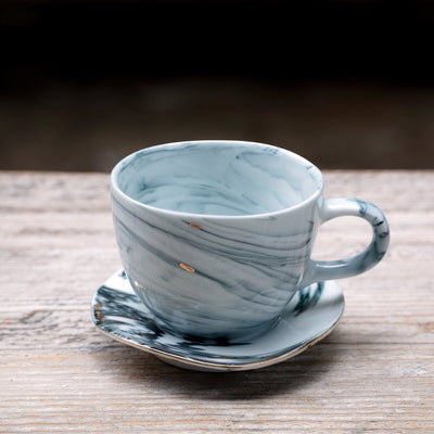 "Jouer | ""Swirl"" Ceramic Coffee Cup and Saucer Set"