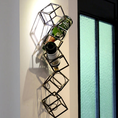 5-Bottle Wall Mounted Metal Wine Rack