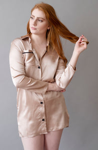 Pink Lady Collection - Silk Pink Boyfriend Shirt