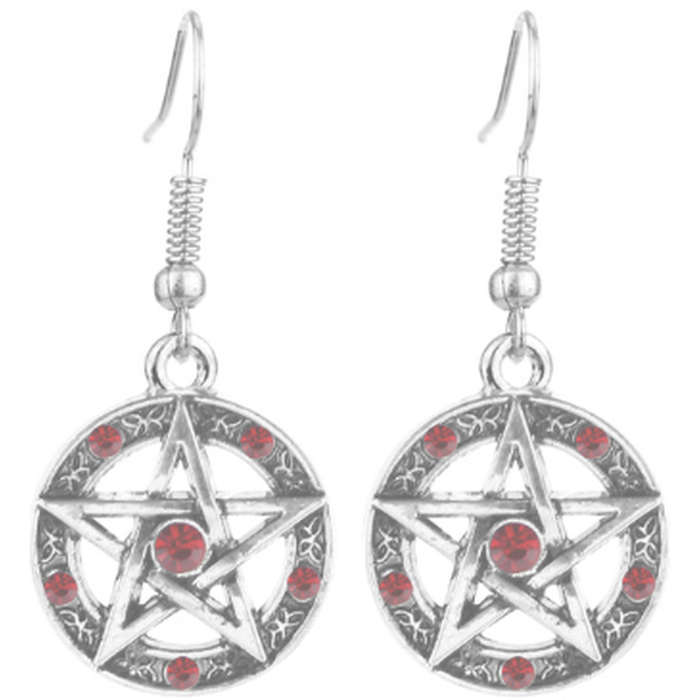 Supernatural Red Pentacle Hook Earrings