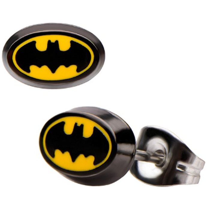 Batman Yellow Black Bat Symbol Stud Earrings