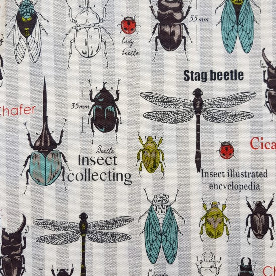 Fabric - Steampunk Pinstripe Insects (Japan)