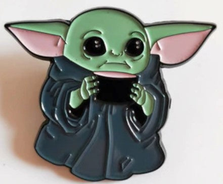 Enamelled Brooch/Pin - Baby Yoda with Cup