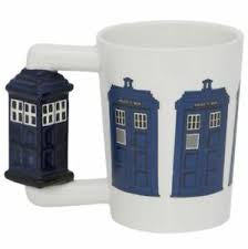 Police Box Ceramic Coffee Mug - Shaped Handle