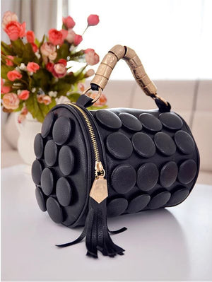 Black Button Roll Handbag