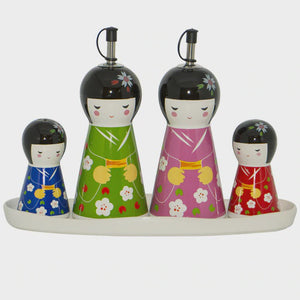 Japanese Dolls Condiment Set