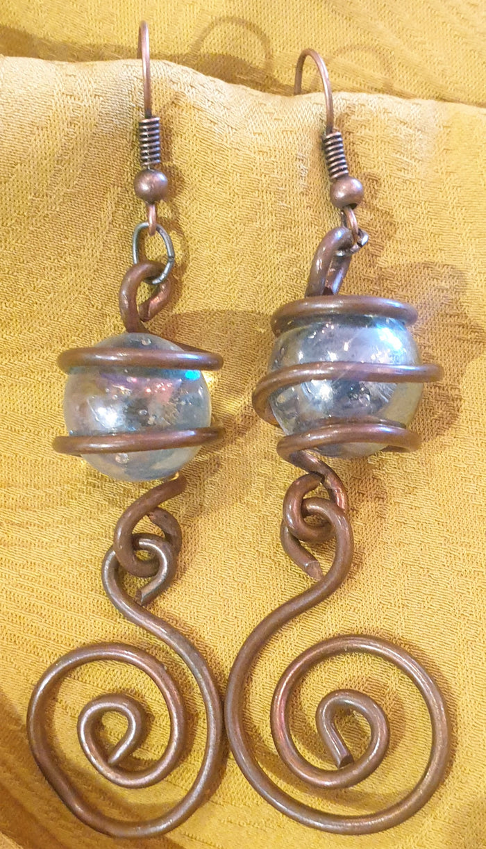Copper & Glass Earrings
