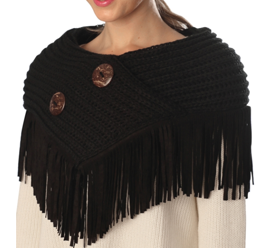 Black Fringed Neckwarmer Collar