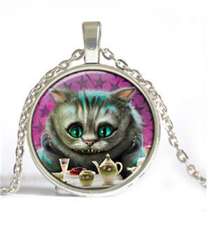 Cheshire Cat Dome Necklace - Alice in Wonderland