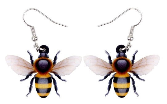 Bee Acrylic Hook Earrings