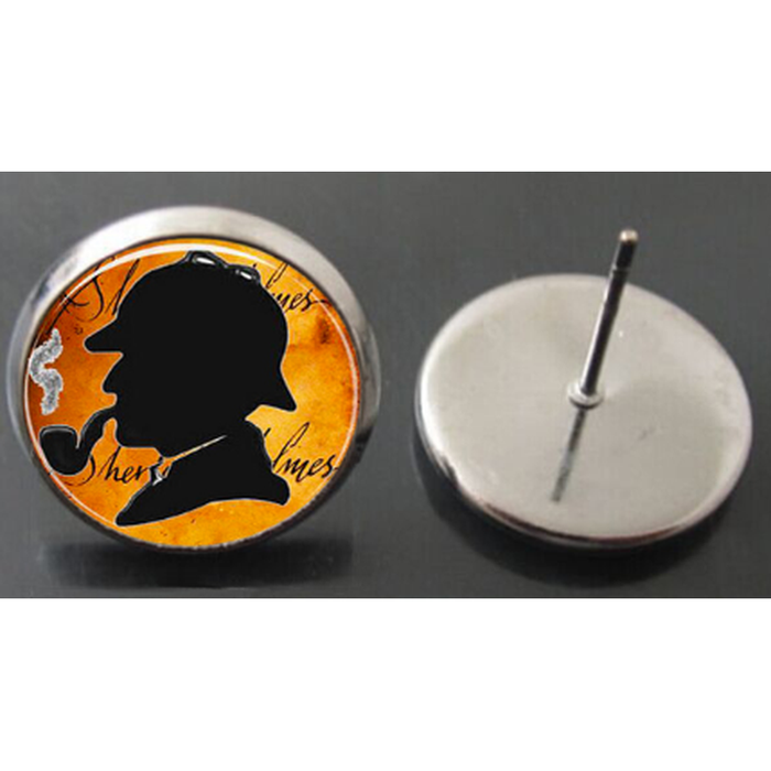 Sherlock Holmes Dome Stud Earrings