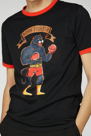 Born Fighter Black Panther Men's T-Shirt