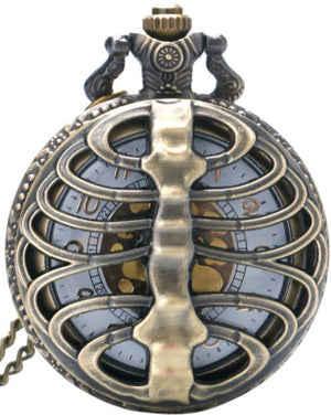 Rib / Spine Bone Cage Fob Watch Necklace