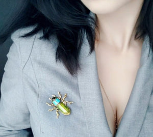Brooch Large Enamel Beetle